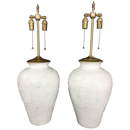 Pair of Large Nicely Detailed Glazed Pottery Urns with Lamp Application