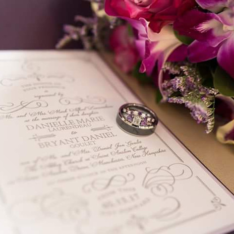 Plum and Lavender Romantic Pocket Invitation witih Scroll Designs