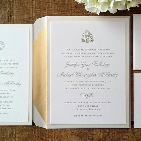 Gold and Ivory Shimmer Celtic Knot Invitation Suite