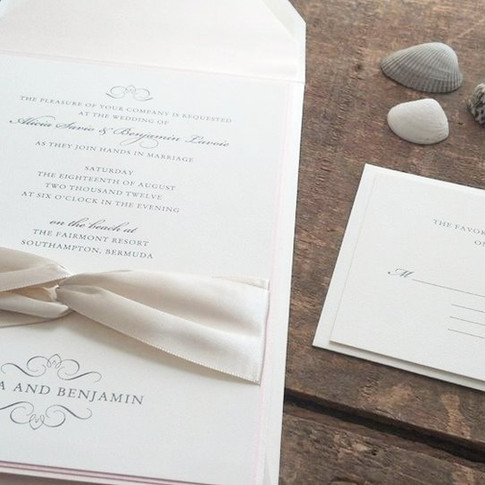 Blush and Ivory Layered Wedding Invitation with Lush Ribbon Wrap