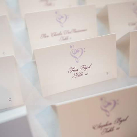 Custom Music Heart Wedding Escort Cards
