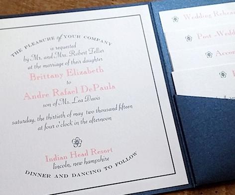 Blue Shimmer and Blush Pocket Invitation with Ribbon and Tag