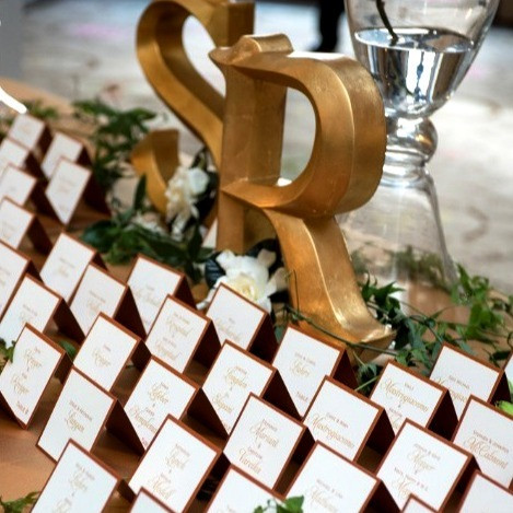 Layered Copper and Ivory Escort Cards