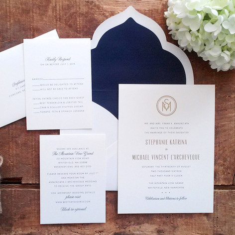 Navy Blue and Gold Wedding Invitation Suite with Scalloped Envelope Flap