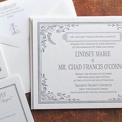 Vintage Downton Abbey Inspired Letterpressed Invitation Suite
