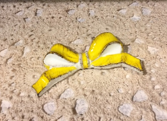 蝴蝶結扣針~黃色