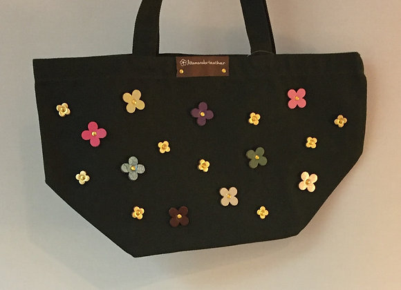 Flowers Tote Bag Green (牛革小花布袋)