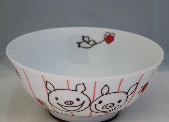湯碗(花) Flower Lucky Pig Soup Bowl