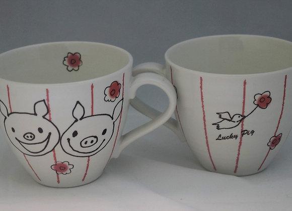 大花花杯 Flower Lucky Pig Mug