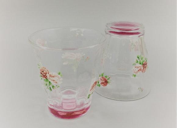玻璃杯 L (玫瑰花)