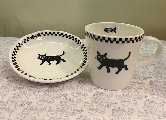 Cup & Saucer (black cat)