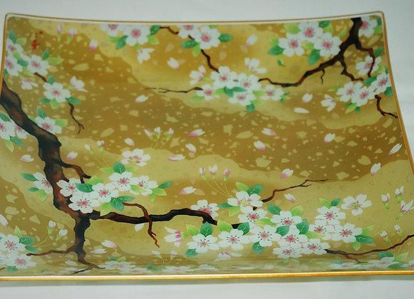 櫻花夢雅玻璃四方碟