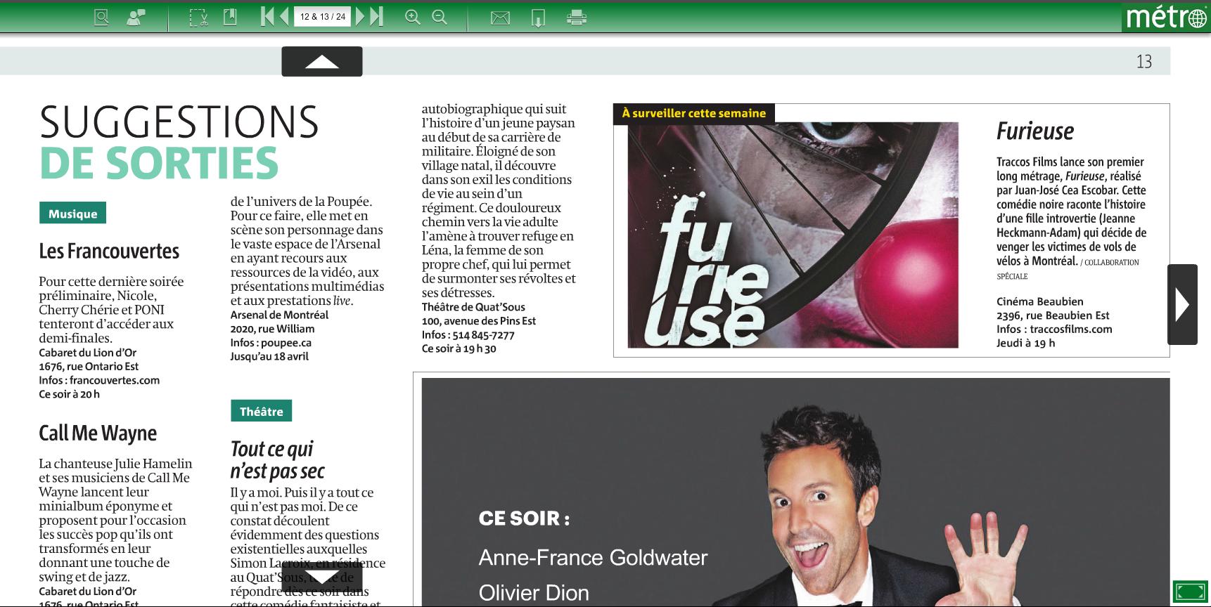 FURIEUSE | Journal Métro de Montreal