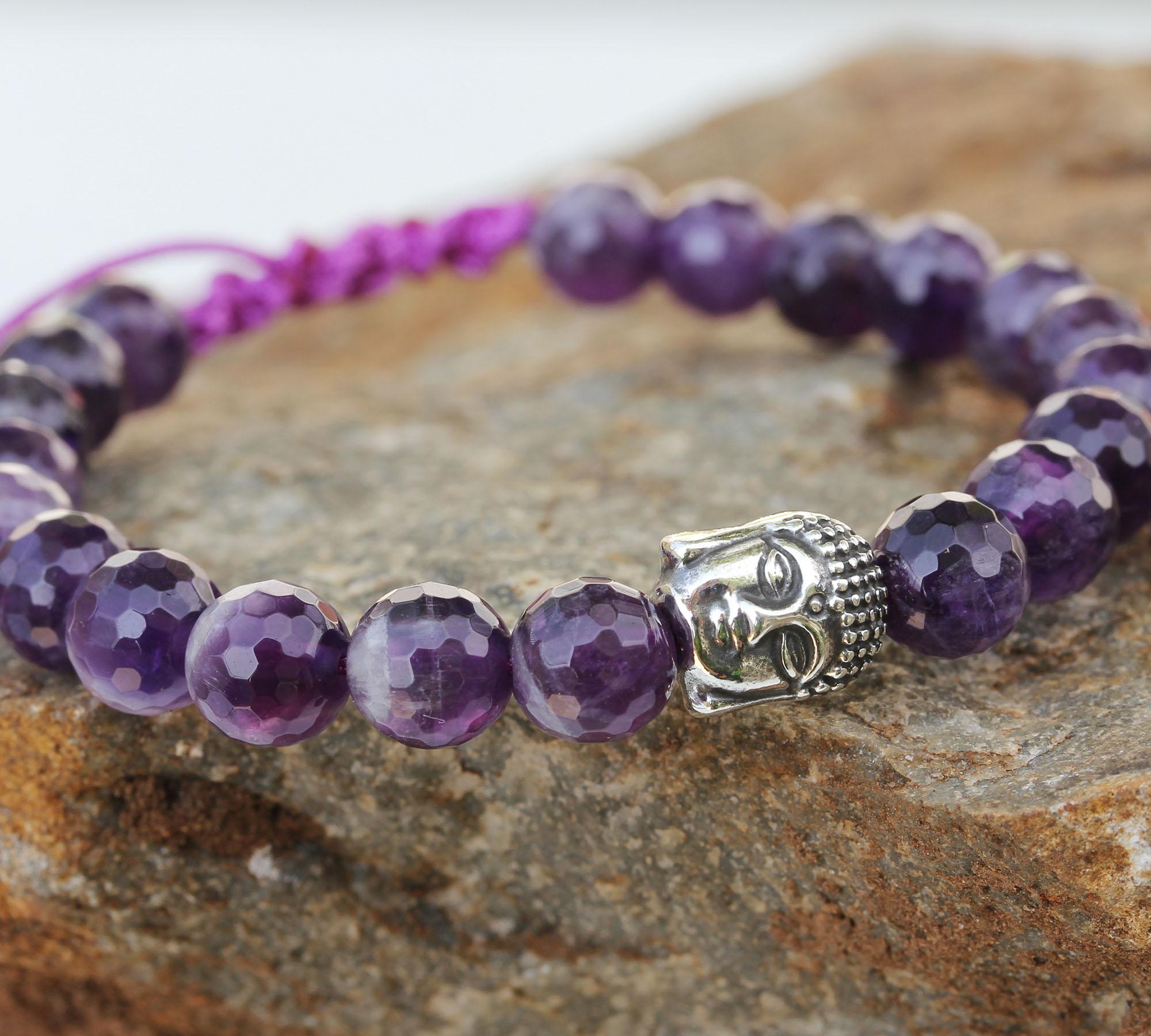 amethyst with buddha knot bracelet