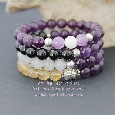 Amethyst - 8mm- Healing Stone -  bracele