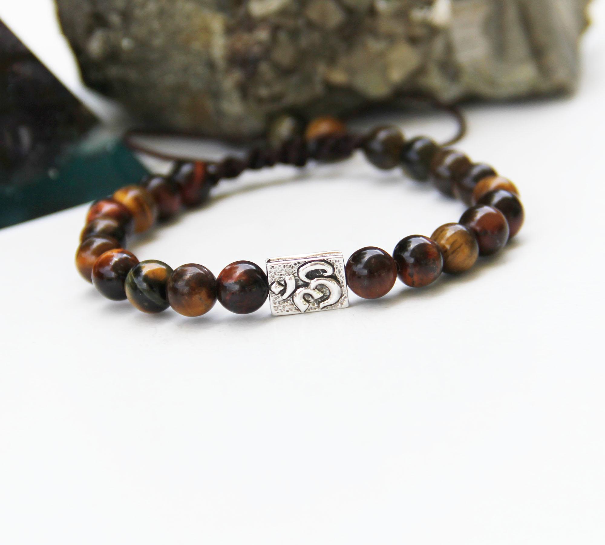 tiger eye with om bead bracelet 7