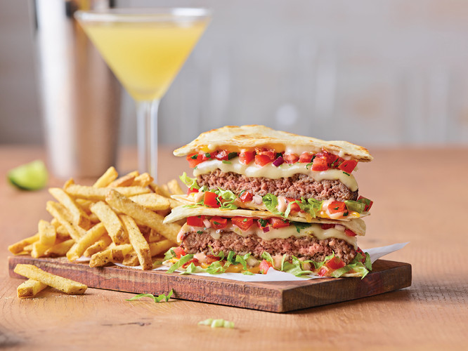 Quesadilla Burger With Perfect Margarita