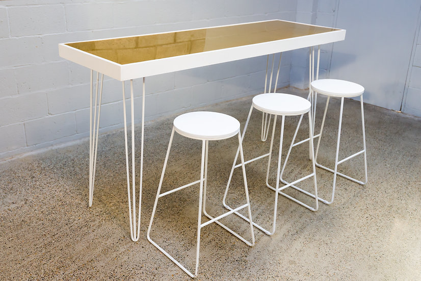 High Stool Industrial White w/ White Top
