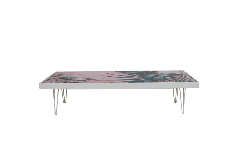 Coffee Table Pink Palm, White Frame w/ White Hair Pin Legs