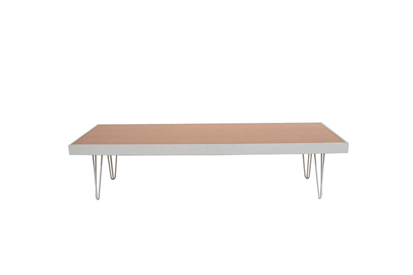 Coffee Table Terracotta, White Frame w/ White Hair Pin Legs