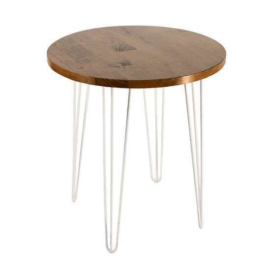 Cafe Table Oak Round w/ White Hair Pin Legs