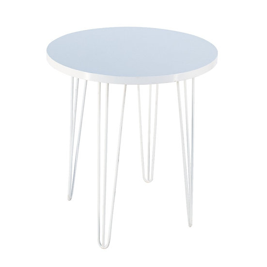 Cafe Table White Round w/ White Hair Pin Legs