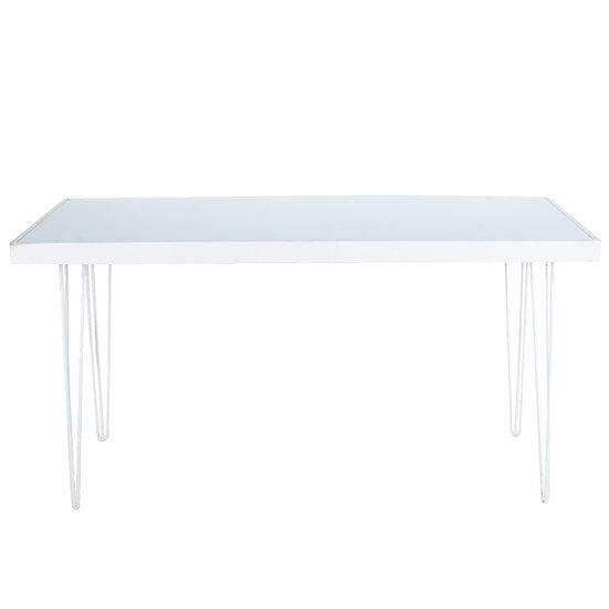 Tapas Table White Acrylic, White Frame w/ White Hair Pin Legs
