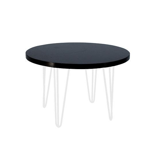 Coffee Table Black Round w/ White Hair Pin Legs