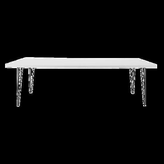 Dining Table White Feasting w/ Black Hair Pin Legs