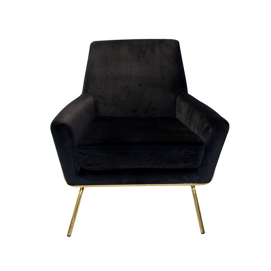 Chair Black Velvet w/ Gold Legs