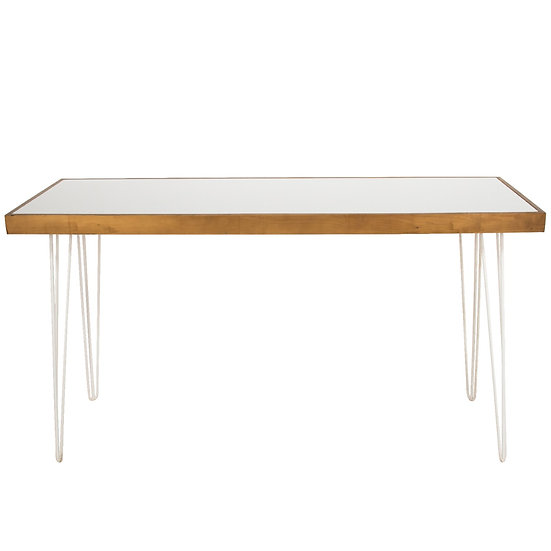 Tapas Table White Acrylic, Oak Frame w/ White Hair Pin Legs