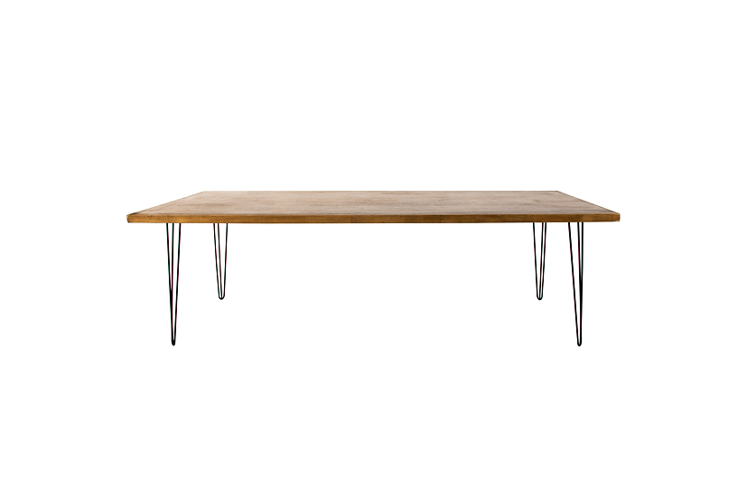 Dining Table Oak Feasting w/ Black Hair Pin Legs
