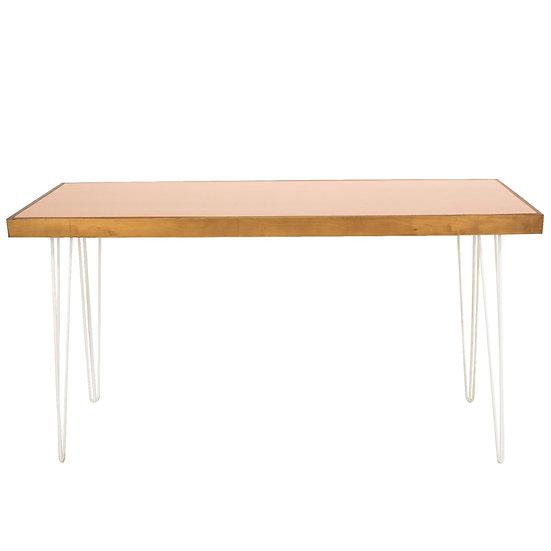 Tapas Table Pale Terracotta Top, Oak Frame w/ White Hair Pin Legs