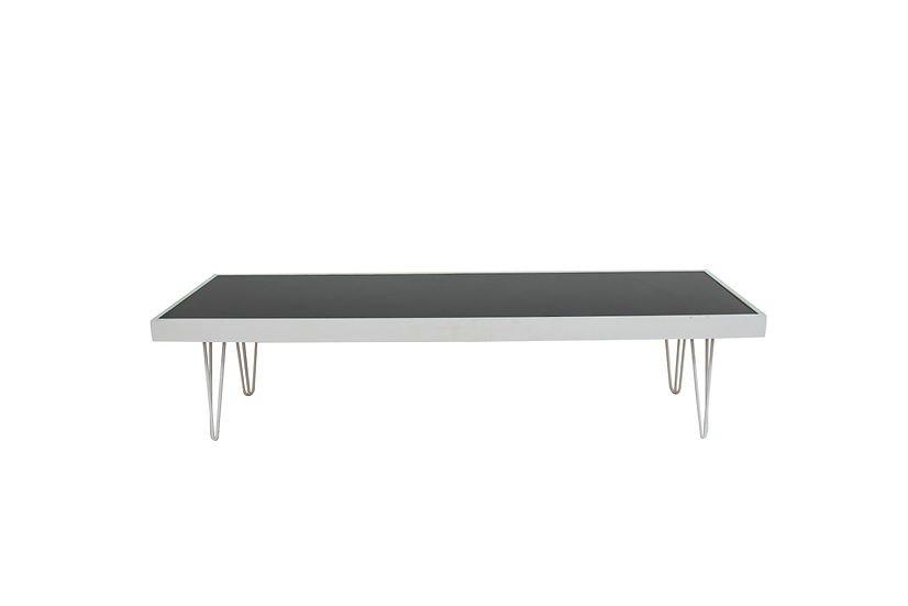Coffee Table Black Acrylic, White Frame & White Hair Pin Legs