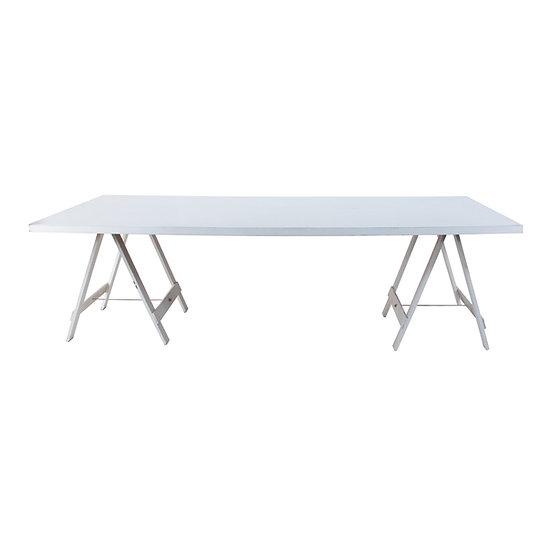 Dining Table White Feasting w/ White Trestle Legs