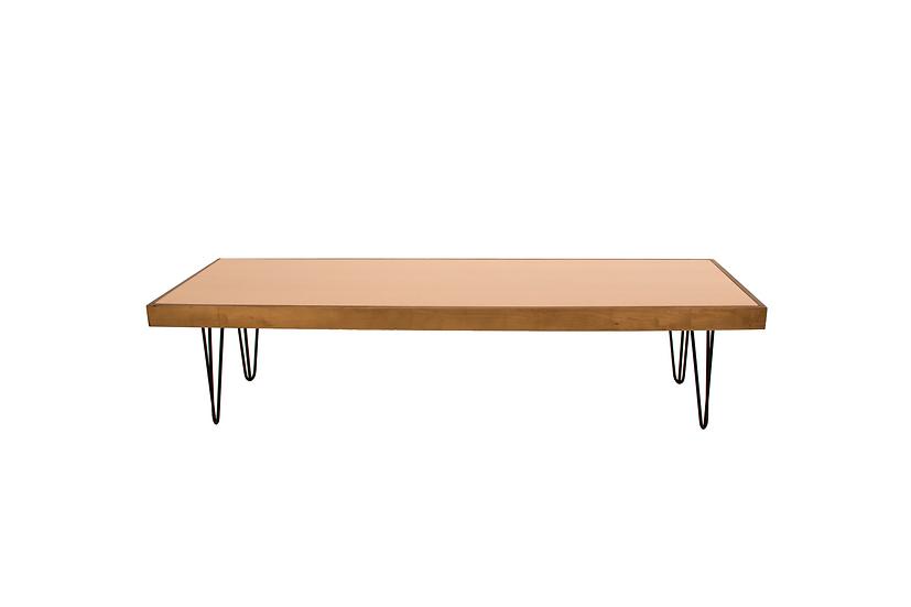 Coffee Table Terracotta, Oak Frame w/ Black Hair Pin Legs