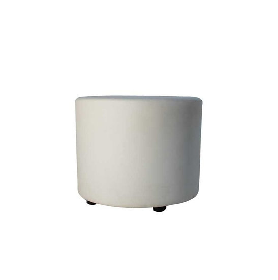 Ottoman White Round Medium
