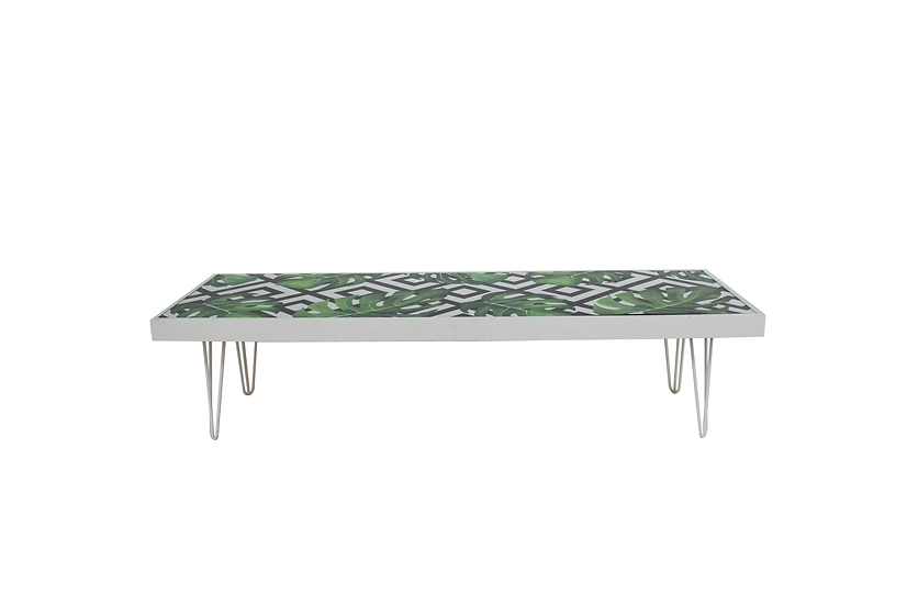 Coffee Table Tropical, White Frame w/ White Hair Pin Legs