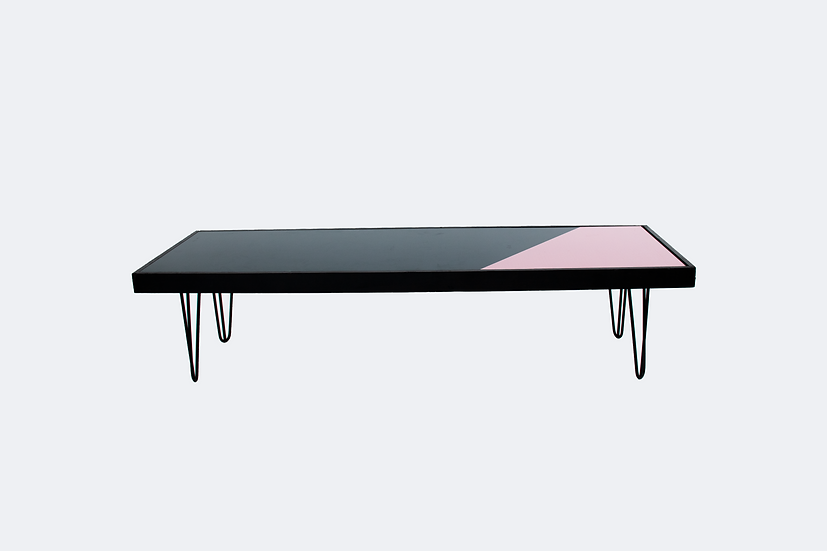 Coffee Table Green & Pink, Black Frame w/ Black Hair Pin Legs