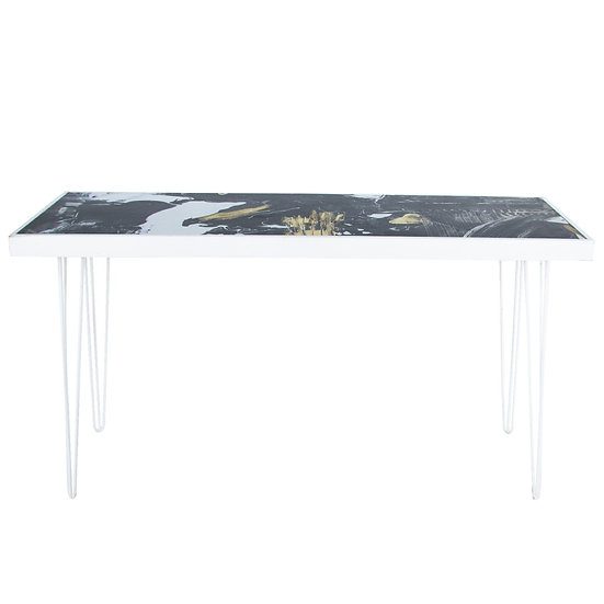 Tapas Table Pattern Top, White Frame w/ White Hair Pin Legs
