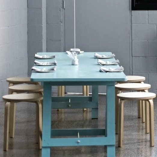 Pastel Blue Table w/ Trestle Legs