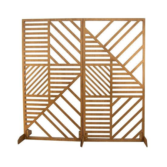 Timber Geometric Screen Panel