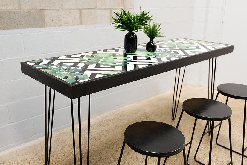 Tapas Table Tropical Top, Black Frame w/ Black Hair Pin Legs