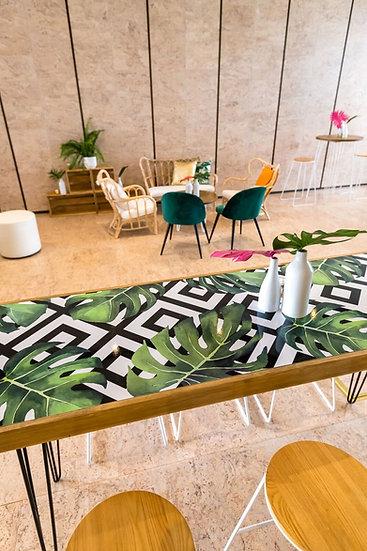 Tapas Table Tropical Top, Oak Frame w/ Black Hair Pin Legs
