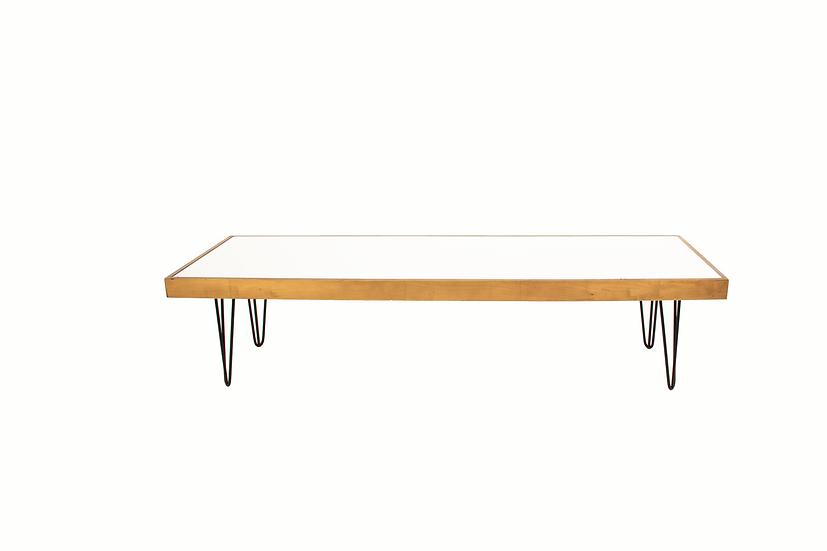 Coffee Table White Acrylic, Oak Frame w/ Black Hair Pin Legs