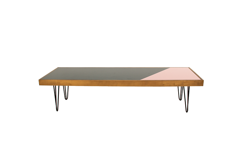 Coffee Table Green & Pink, Oak Frame w/ Black Hair Pin Legs