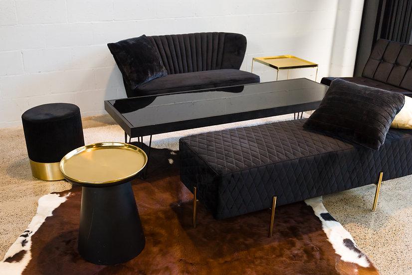 Coffee Table Black Acrylic, Black Frame & Black Hair Pin Legs