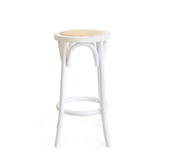 High Stool White Bentwood w/ Rattan Seat