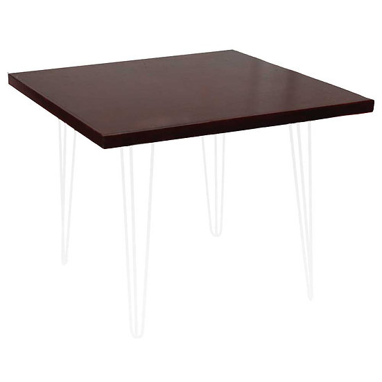 Cafe Table Mahogany Stained Square w/ White Hair Pin Legs