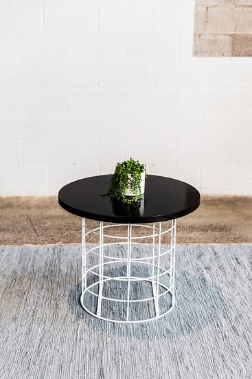 Coffee Table Black Round w/ White Wire Base